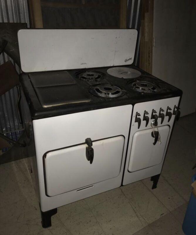Antique CHAMBERS Gas Stove White Vintage Farm House Kitchen Oven Farmhouse