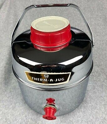 Vintage 6-Quart Therm-A-Jug Chrome Insulated Beverage Hot/Cold Cooler - NICE