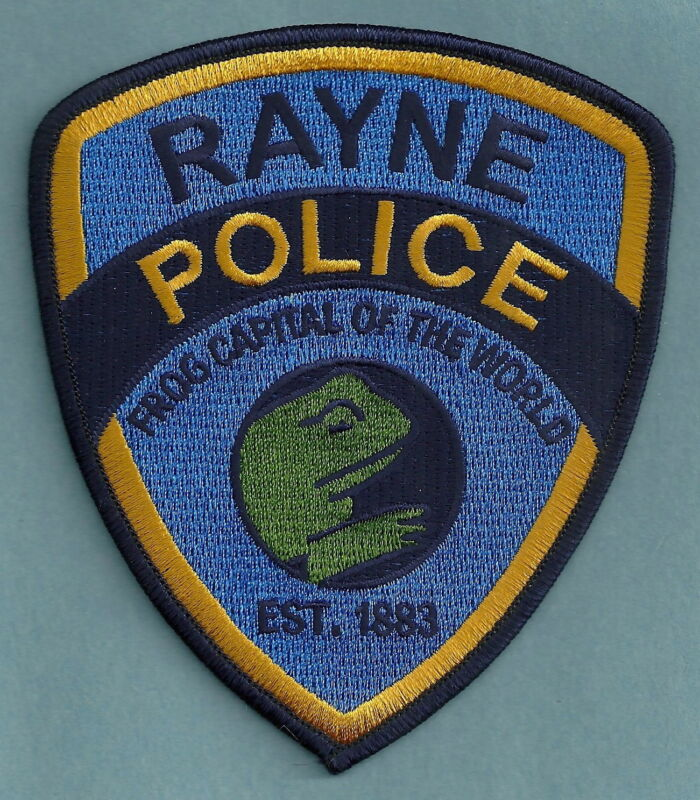 RAYNE LOUISIANA POLICE SHOULDER PATCH WORLD FROG CAPITAL