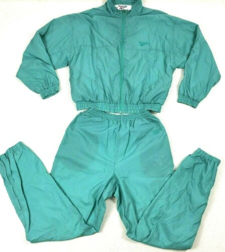 Vintage 90s Reebok Tracksuit Womens Size S Small Jogger Pants Jacket Green Teal