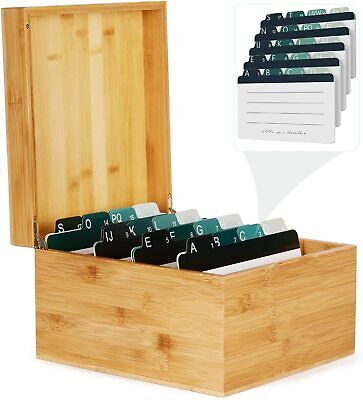 Bamboo Business Card Holder 5x8 In Index Card Organizer Box Desktop File Note