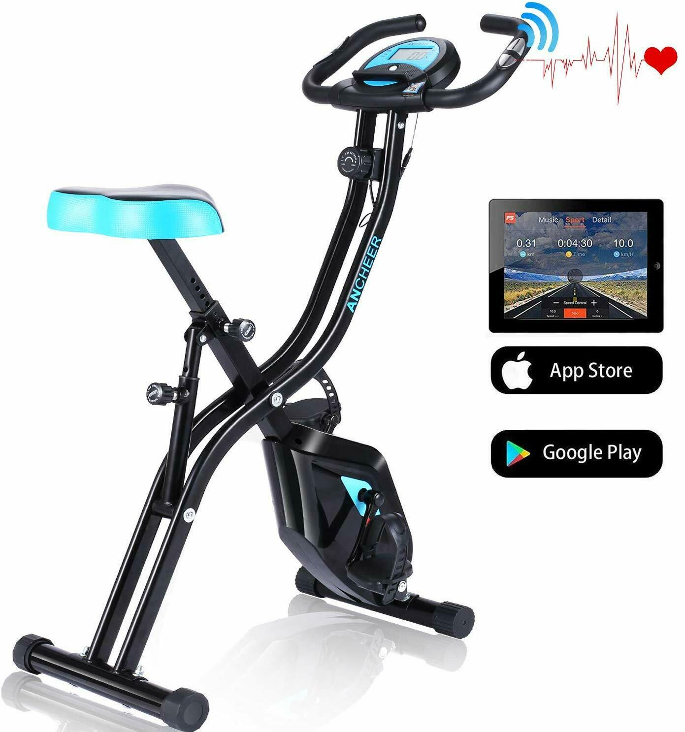 ANCHEER Exercise Folding Bike,Stationary Cycle Indoor Uprigh