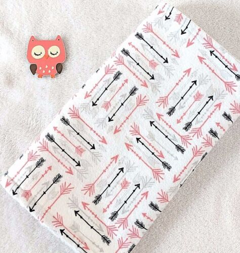 Handcrafted, Flannel Arrow Print & White Minky Bubble, Baby Burp Cloth