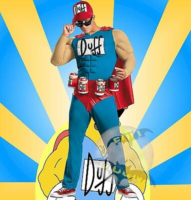 Duffman Kostüm (New The Simpsons Duffman Classic Muscle Duff Beer Halloween  Adult Costume)