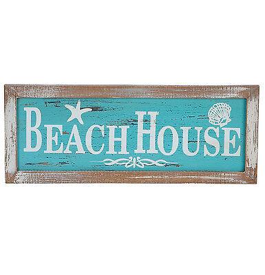 BEACH HOUSE Wall Wood Sign Plaque Nautical Coastal Beach Decor Distressed Design (Beach Decoration)
