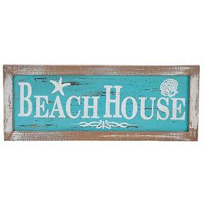 BEACH HOUSE Wall Wood Sign Plaque Nautical Coastal Beach Decor Distressed Design