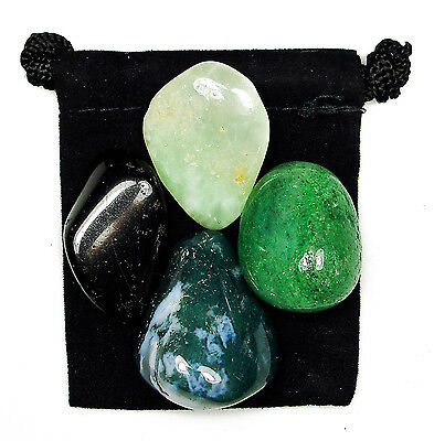 GARDEN HEALTH Tumbled Crystal Healing Set = 4 Stones + Pouch + Card