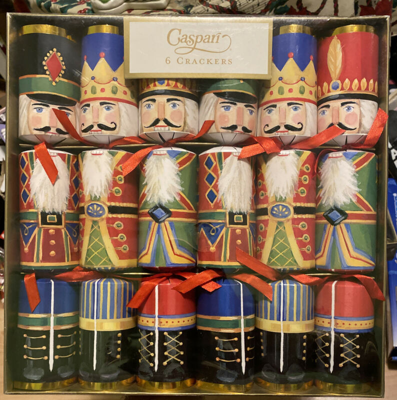 Caspari Celebration Christmas Crackers, Nutcrackers Box of 6 (CK021.12) Nos New