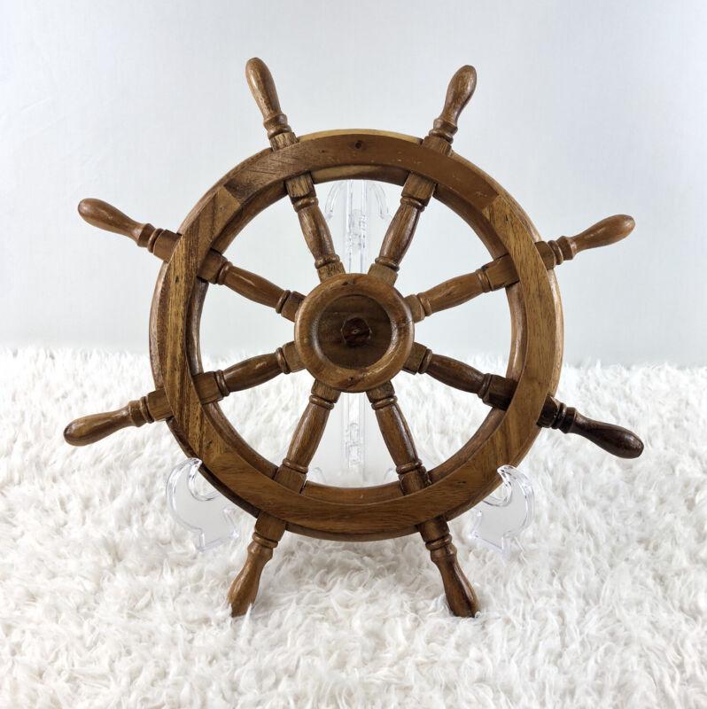 "12"" Wood Ship Wheel Nautical Themed Wall Decor Small Wooden Captain Helm"