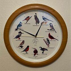 National Audubon Society Singing Bird Wall Clock, Faux Wood,  - 13.5