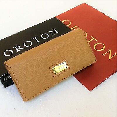 RRP$245 New OROTON Wallet Kiera Slim Large Clutch Purse Tan Caramel Leather (Oroton Sales)