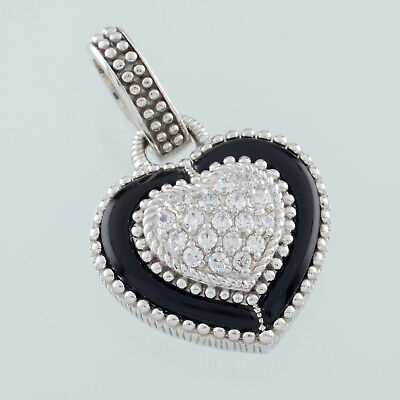 Judith Ripka Sterling Silver Onyx CZ Heart Pendant Enhancer Nice