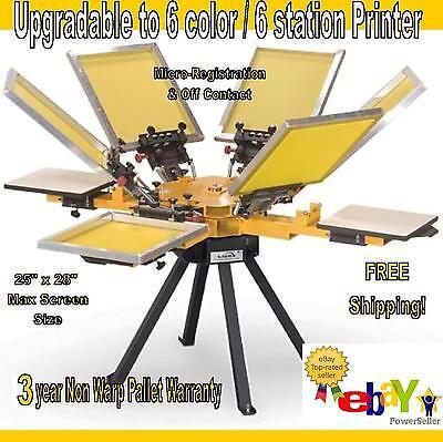 Vastex V-1000 Screen Printing Press 4 Station6 Color