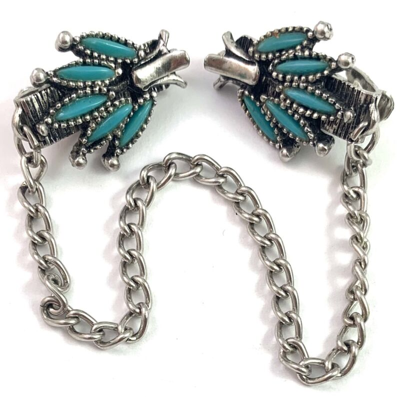 VINTAGE SWEATER GUARD CLIP FAUX TURQUOISE SOUTHWESTERN STYLE JEWELRY