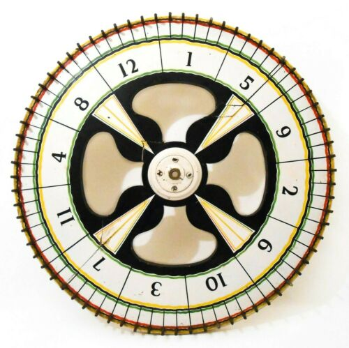 EARLY-MID 20TH C VINT HANDMADE ENAMEL PAINTED WOOD CARNIVAL SPIN WHEEL, W/NAILS