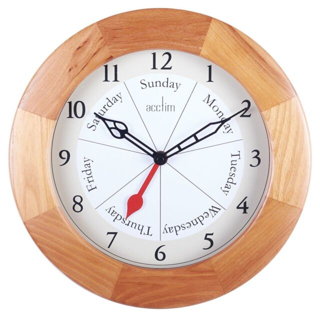 Acctim Polima Day Of The Week Wall Clock, Natural wood Mounted clock 24671 New
