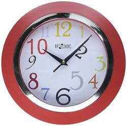 CL125 Decorative Wall Clock For Home/Office,Round,10 x10x1.7Inches,Small (Red)