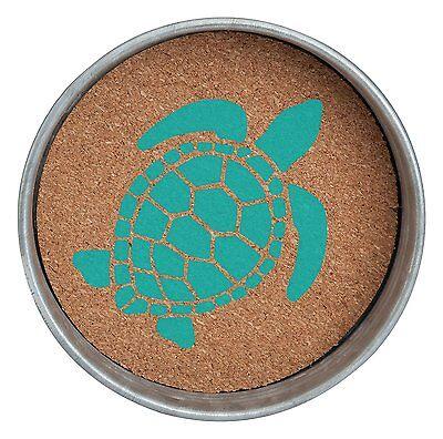 SEA TURTLE Mason Jar Lid Cork Coasters, Set of 4, by Occasionally Made