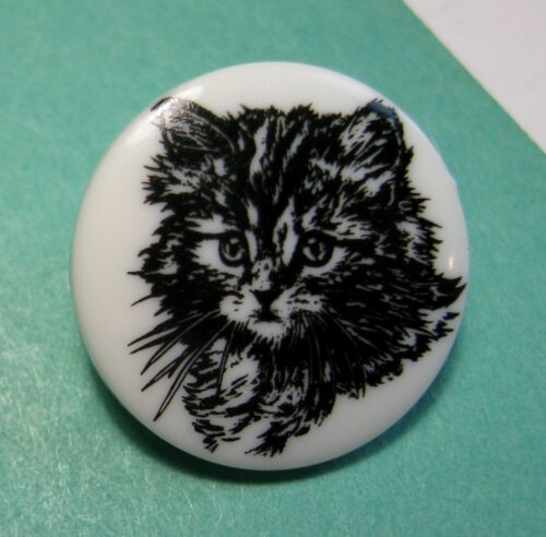 One or More Small Vintage Plastic Button with Adorable Kitten Face Kitty Cat