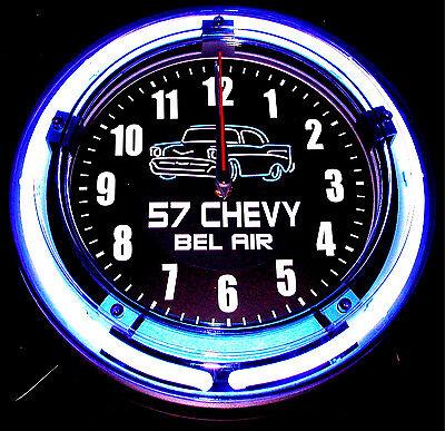 "'57 CHEVY BEL AIR LOGO 11"" BLUE NEON CLOCK - NEW !!"