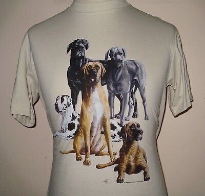T-Shirt with Transfer print of a Great Dane Group - Beige - Medium