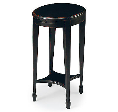 COVENTRY PEDESTAL TABLE WITH PULL OUT SHELF - PLUM BLACK FINISH - FREE SHIPPING*