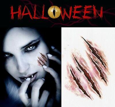X 2 Halloween Zombie Scars Tattoos Fake Blood Scab Scar Wound Make-Up Kit UK - Halloween Scars Makeup Uk