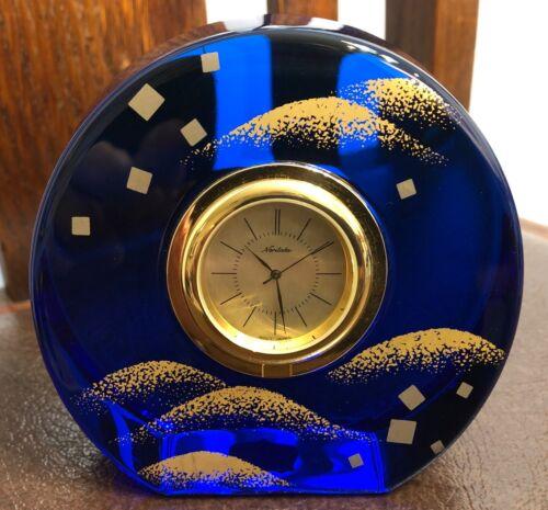 """Noritake Blue Crystal Desk Clock """"Sands of Time"""" (Quartz Japan) - Nice!!!!"""