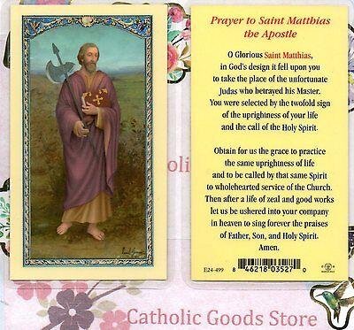 St  Saint Matthias   Prayer To St Matthias The Apostle   Laminated  Holy Card