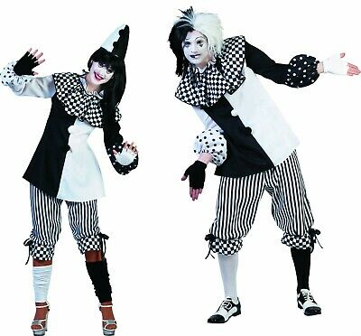Pierrot Harlekin Kostüm Clown Pantomime Damen Herren Partnerkostüm Karneval