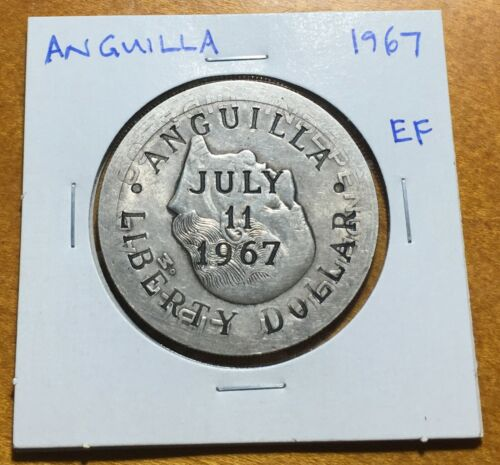 #3521 Anguilla 1967 Liberty Dollar, KM-X1, Extremely Fine
