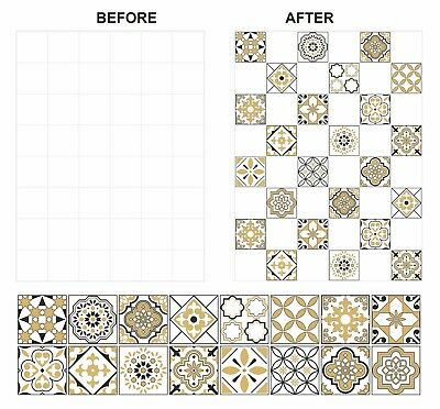Black Mosaic Tile (Gold & Black Mosaic Pattern Tile Stickers Transfers For 150mm & 6