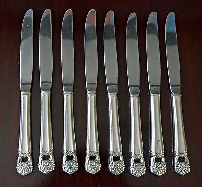4 VG Silverplate 1847 Rogers ETERNALLY YOURS Pierced Dinner Knives With Stainless Blades Vintage 1941 Silver Plate Flatware