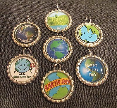 LOT OF 7 EARTH DAY Bottle Cap Charms Split Rings Attached Crafts Globe World