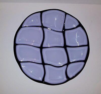 Fused Glass Geometric Bowl Purple and lilac 7