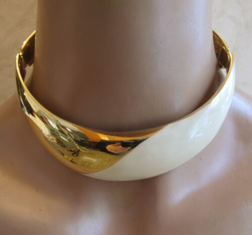 Alexis Kirk Gold Tone & Enamel Couture runway hinged Collar Necklace Earring Set