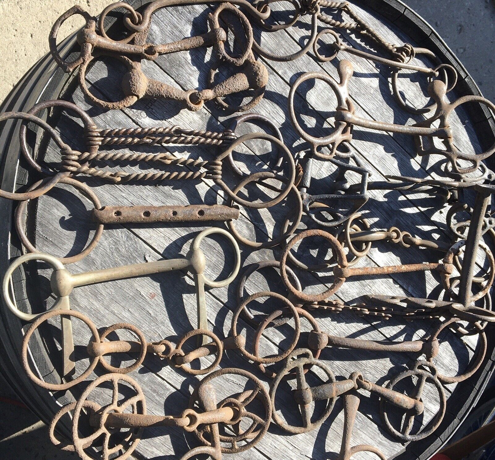 Antique Primative Rusty Metal Horse Bridle Bit Blacksmith Tack Equestrian 014 - $69.99