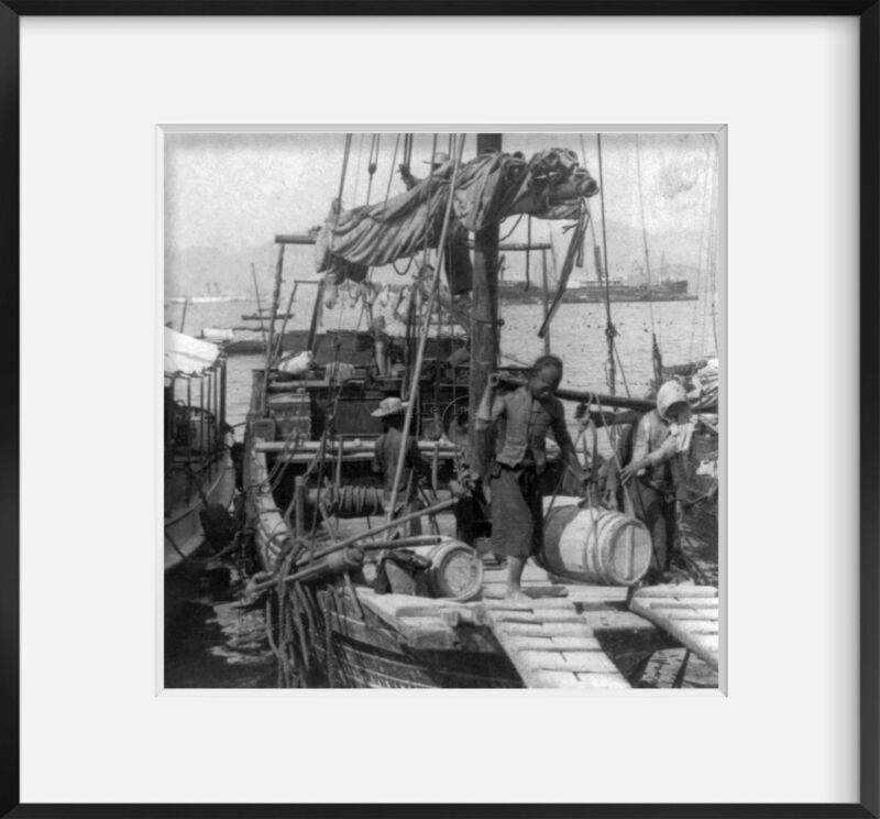 1900 Photo Unloading a Junk, Hong Kong 2 Chinese unloading a barrel, suspended f