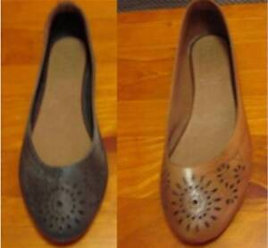 Women's 2 Pairs Zensu 'Leila Shoes' Flats Black and Tan Leather Ringwood East Maroondah Area Preview