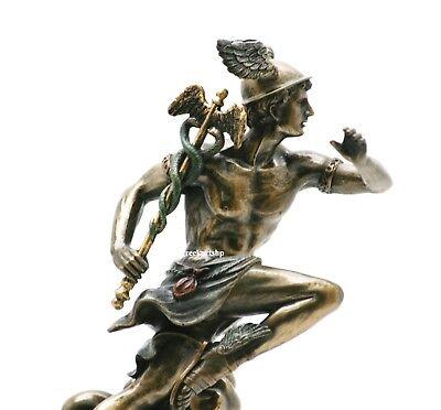 Mercury Bronze Finish - Hermes Mercury Greek Roman God Statue Sculpture Bronze Finish 8.27in - 21 cm