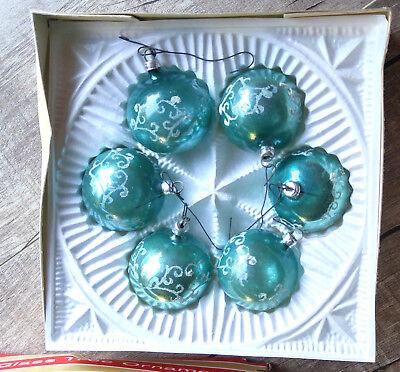 Glass Globe Christmas Ornaments (6 Blown Glass Ball Christmas Ornaments Blue W Germany Mid-Century Set IN)