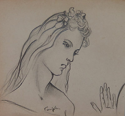 Modernist Drawing w COA, signed Léonard Tsugouharu Foujita , Dali Picasso era for sale  Shipping to Canada