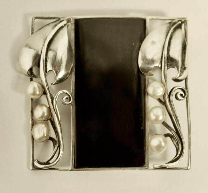 Wiener Werkstatte Art Nouveau Jugendstil Silver Brooch Josef Hoffman