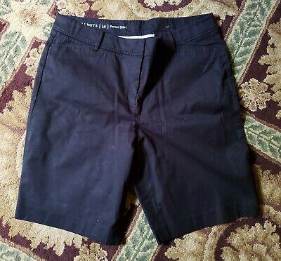 Talbots plus size 14 perfect short black flat front bermuda shorts EUC LUXE