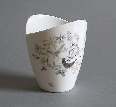 Rosenthal Vase 50er Jahre asymmetrisch Vogel Dekor Nierentisch Zeit