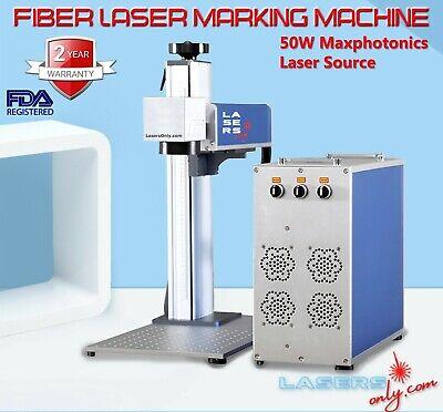 Max 50w Fiber Laser Marking Machine Q-switch Bjjcz Controller With 2 Lenses