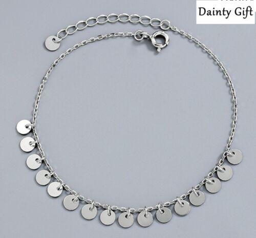 """Women Girl 925 Sterling Silver Dangle Round Bar Chain Anklet Bracelet 8-9.8"""""""
