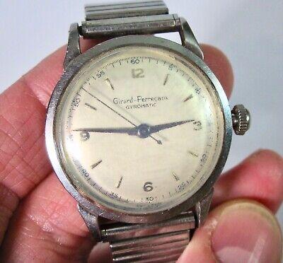 Vintage Girard Perregaux Swiss Stainless Steel Gyromatic Men's Watch 47BF 414