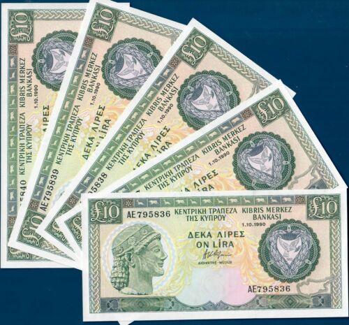 Cyprus 10 pounds 1990, P55a, 5 consecutive UNC!