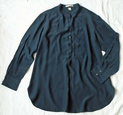 Blouse by Kenneth Cole in pure silk fabric - dark grey - UK size 12